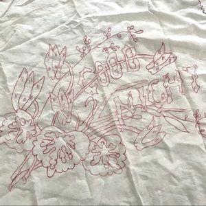 Vintage 1940's good night embroidered linen decor